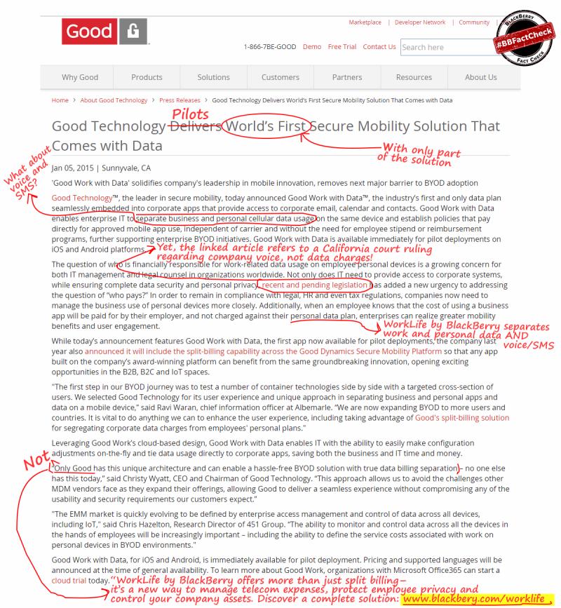 Good Technology - projeto piloto divisao